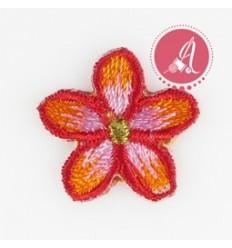 Parche Termoadhesivo Flor Bordada Rojo