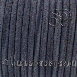Cordon de Cuero Negro Grisaceo 4mm