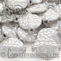 DISCO DE METAL GRABADO DE 13X4MM PLATA PACK 5 UDS