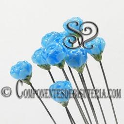 Abalorio Baston Decorado Azul