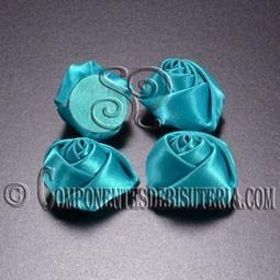 Flor de Raso Azul 20mm