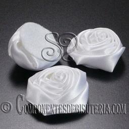 Flor de Raso Blanco 30mm