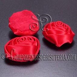 Flor de Raso Rojo 30mm