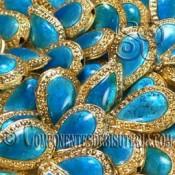 Cuenta Cloisonne Azul Turquesa