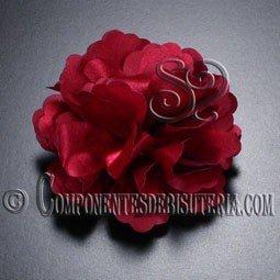 Flor de Raso Roja con Broche