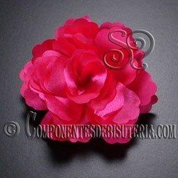 Flor de Raso Fucsia con Broche