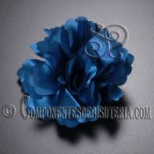 Flor de Raso Azul con Broche