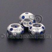 Cuenta Plata 925 y Zirconitas Cristal y Azul