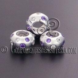 Cuenta Plata 925 y Zirconitas Cristal y Violeta