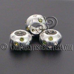 Cuenta Plata 925 y Zirconitas Cristal y Verde