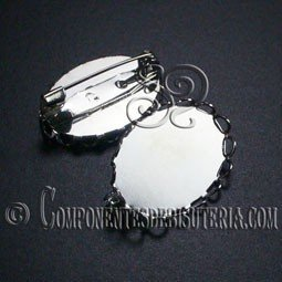 Broche Base Plana Plata 18x25mm