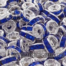 Rondel Cristal Montado Azul