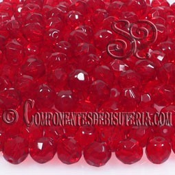 Bola Cristal Checo Siam Ruby 4mm