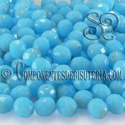 Bola Cristal Checo Azul Coral Opaco 8mm