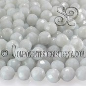 Bola Cristal Checo Blanco Opaco 8mm