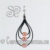 Kit de Pendientes de Cuero Negro con Perlas Rosa