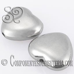 CORAZON CCB PLATA DE 16x14MM PACK DE 25 Uds.