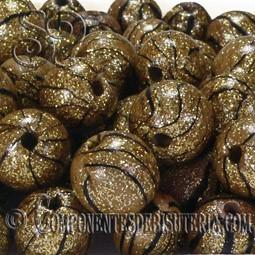 Abalorio de resina dorado y negro de 12mm