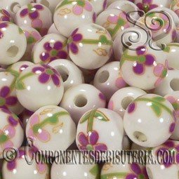 BOLA PORCELANA DE 10MM DECORADA x 10 Uds