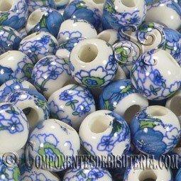 BOLA PANDO DE PORCELANA DE 11MM DECORADA x 10 Uds