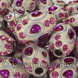 Abalorio de resina beige y rosa de 21mm