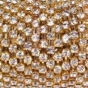 Cadena Dorada de Strass 4mm Cristal x 50cms
