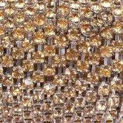 Cadena Plateada de Strass 4mm Topaz x 50cms