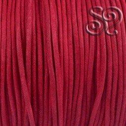 Cordón de Cuero Natural Rojo de 2mm