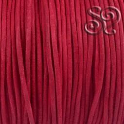 Cordón de Cuero Natural Rojo de 3mm
