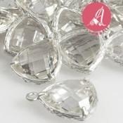 Colgante Triangular Baño Plata Con Piedra Cristal 14mm