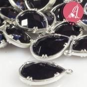 Colgante Lagrima Baño Plata Con Piedra Negra 12X18mm