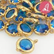 Colgante Baño Dorado Con Cristal Azul Zafiro 8mm