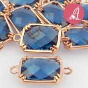 Conector Baño Dorado Rosa Con Cristal Azul Zafiro 16X9mm