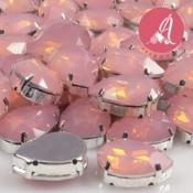 Cabuchon de Resina Gota En Rosa Opal Y Plata de 13X18mm