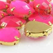 Cabuchon Acrilico Gota En Rosa Neon Y Dorado de 13X18mm