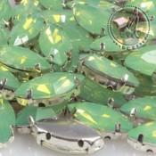 Cabuchon de Resina Navette Verde Opal de 15X7mm