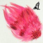 Tocados de Plumas Naturales Rosa y Rojo.