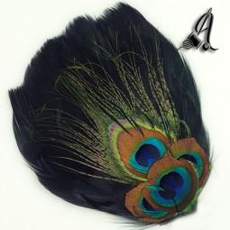 Tocados de Plumas Pavo Real en color Negro