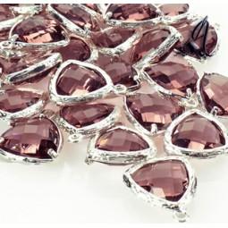 Colgante Triangular Baño Plata Con Piedra Violeta 14mm