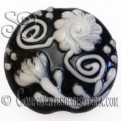 Abalorio Colgante de Cristal Blanco y Negro