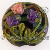 Abalorio Colgante de Cristal Floral
