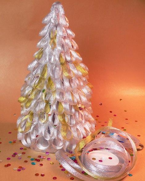 Decorar El Arbol Con Cintas.Decoracion De Navidad Arbol De Navidad Con Cintas De Raso Y